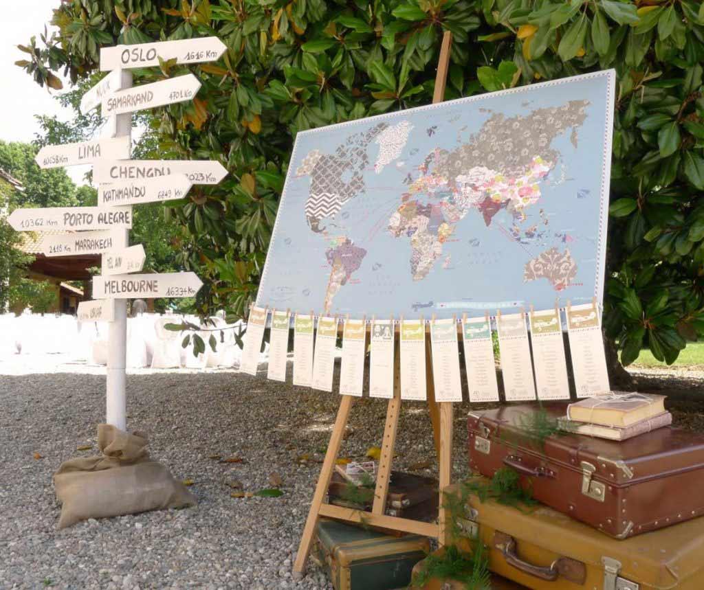 Cavalletto tableau marriage segna tavoli legno mappa mondo
